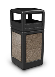 42 Gallon StoneTec Indoor Outdoor Stone Panel Trash Can with Dome Lid Black with Riverstone