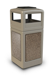 42 Gallon StoneTec Indoor Outdoor Trash Can Dome Lid and Ashtray Beige Riverstone