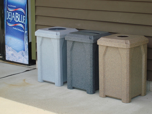 Kolor Can 32 Gallon Indoor Outdoor Square Recycling Receptacle (Light Granite, Dark Granite, Beige Granite)
