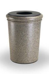 50 Gallon StoneTec Concrete Fiberglass Decorative Trash Can Riverstone