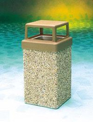 10 Gallon Concrete 4 Way Open Top Outdoor Waste Container TF1005 Exposed Aggregate Tan