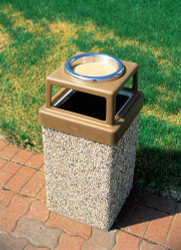 10 Gallon Concrete Outdoor Ash Trash Waste Container TF1006 Exposed Aggregate Tan