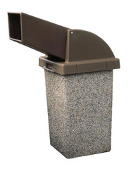 30 Gallon Concrete Drive Up Chute Lid Outdoor Waste Container TF1021 Exposed Aggregate Misty Gray