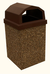 Dome Top 30 Gallon Outdoor Concrete Garbage Can Riverrock