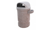 53 Gallon Concrete 2 Way Dome Top Outdoor Waste Container TF1130 with TF2091 Optional Ashtray