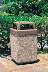 53 Gallon Concrete 4 Way Open Top Outdoor Waste Container TF1040 Exposed Aggregate Tan