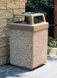 53 Gallon Concrete 4 Way Open Top Outdoor Waste Container TF1040 Exposed Aggregate Tan with Optional Ashtray
