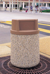 42 Gallon Concrete Push Door Top Outdoor Waste Container TF1170 Exposed Aggregate Tan