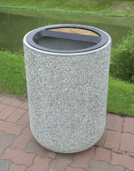 31 Gallon Concrete Ash Trash Top Outdoor Waste Container TF1086 Exposed Misty Gray