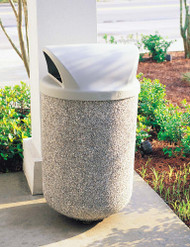 31 Gallon Concrete 2 Way Open Dome Top Outdoor Waste Container TF1100 Exposed Misty Gray