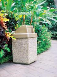 45 Gallon Concrete Push Door Top Outdoor Waste Container TF1029 Exposed Aggregate Tan