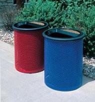 30 Gallon Metal Armor Ash Trash Lid Outdoor Waste Container MF3005