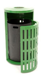 41 Gallon Metal Armor Outdoor Waste Receptacle with Snuffer MF3301