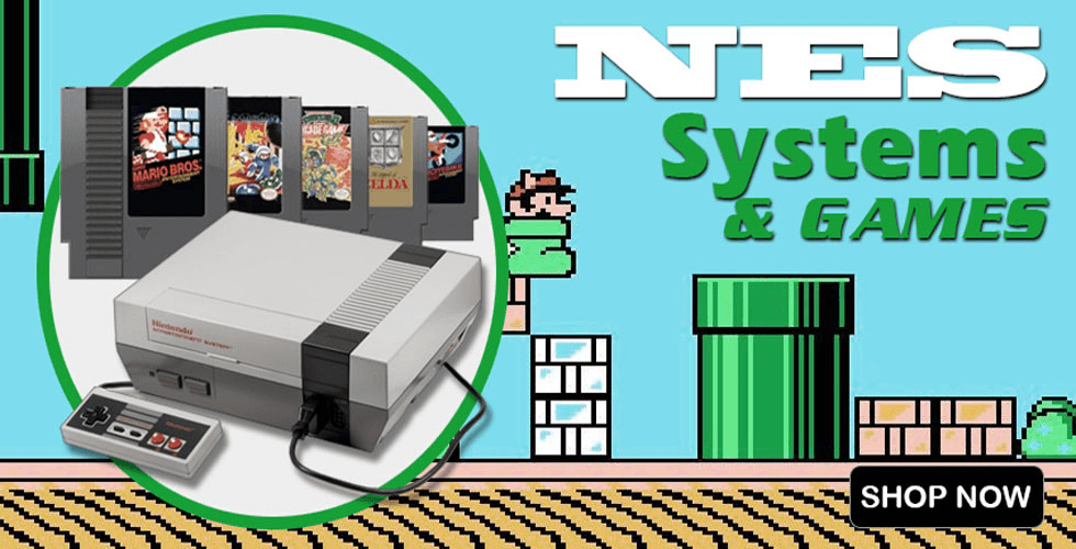 Nintendo NES system consoles & original game cartridges for sale.