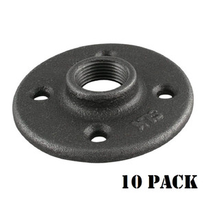 Black Floor Flange Pipe Fitting, 3/4 Inch, 10 Pack