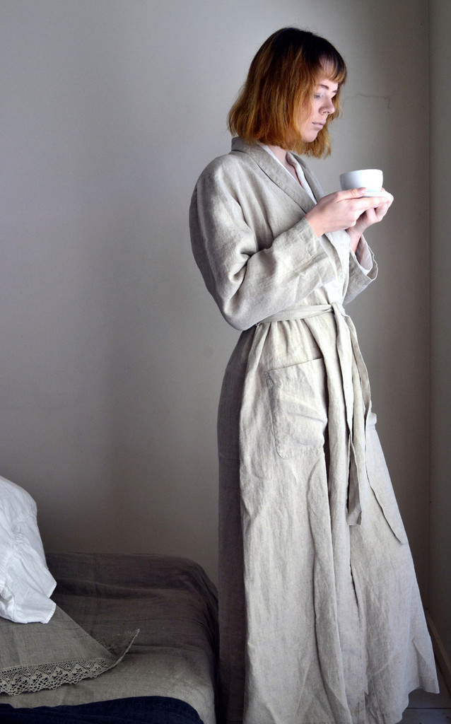 Vintage inspired long linen robe/ Flax colour