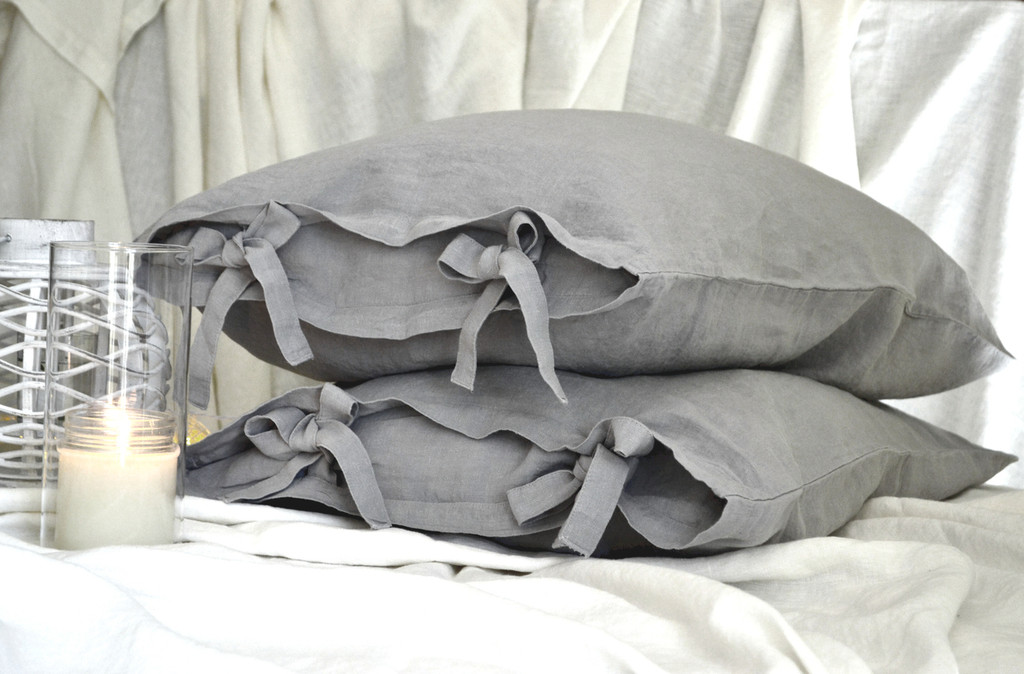 Light grey stonewashed linen pillow case with ties