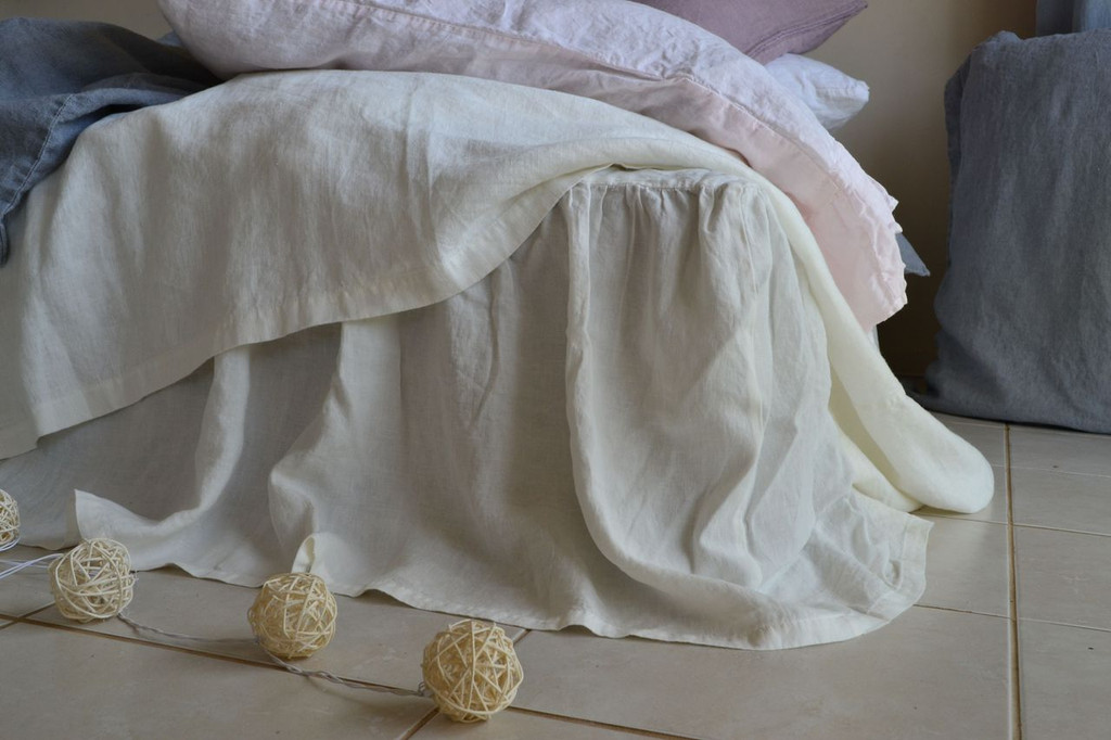Antique White Linen Ruffled Valance⎮Bedskirt⎮Dust Ruffle