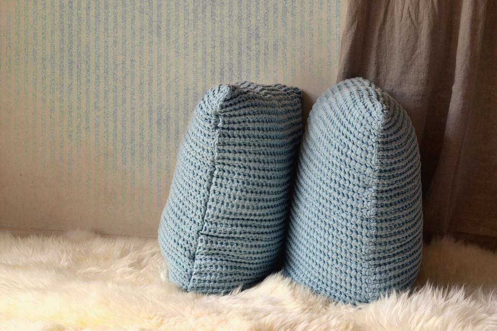 Duck Egg Blue Waffle Linen Pillow Case. Super heavy weight linen