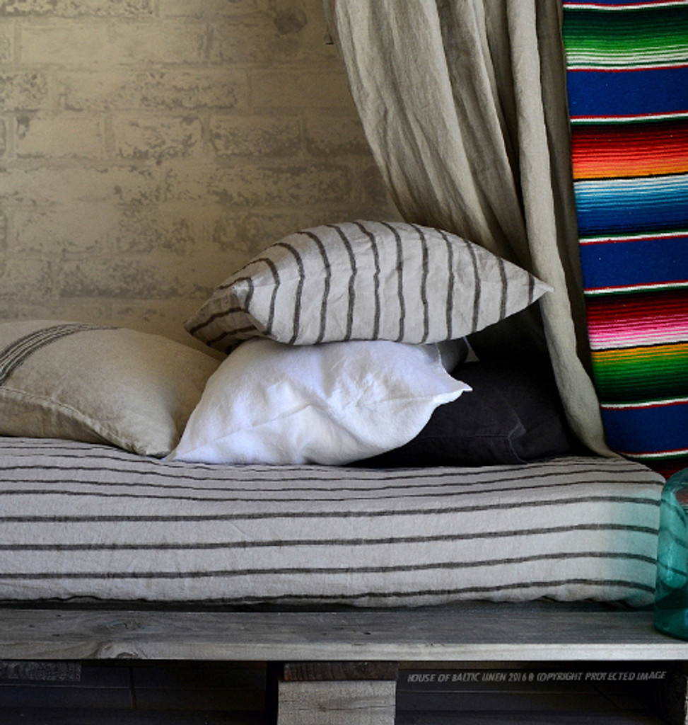 Vintage Black Ticking linen pillow case