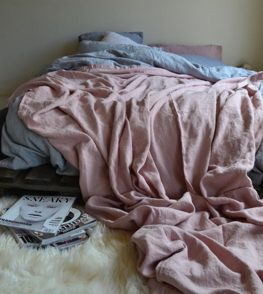 Rose Quartz Heavy Linen Bed cover/Coverlet