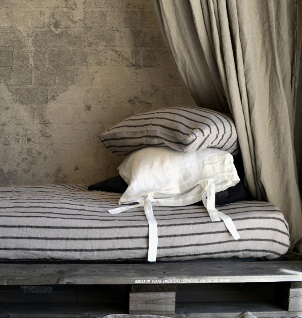 Fitted linen sheet. Vintage Black Ticking stripe linen.