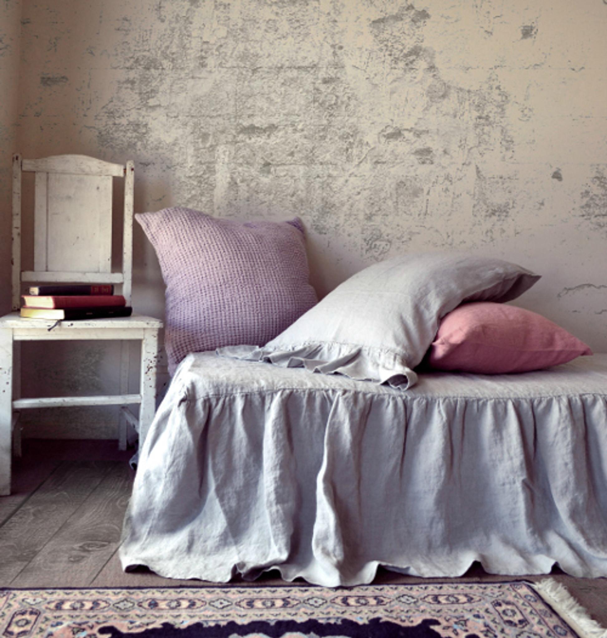 Grey Linen Bed Valance : Light grey stonewashed linen valance bedskirt dust ruffle