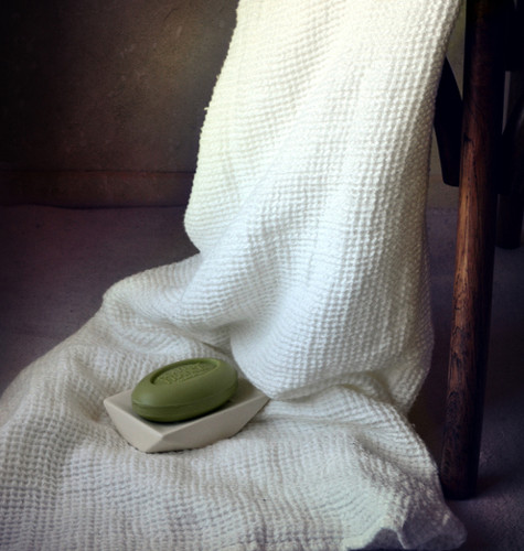 Natural linen bathroom towel/Waffle texture/Ivory