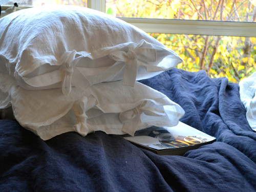 Antique white linen pillow case with ties