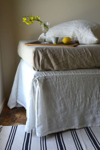 Antique white Box Pleated Dust Ruffle, Luxurious stonewashed linen