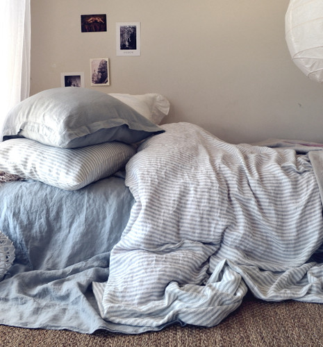 Grey and White Striped linen duvet cover