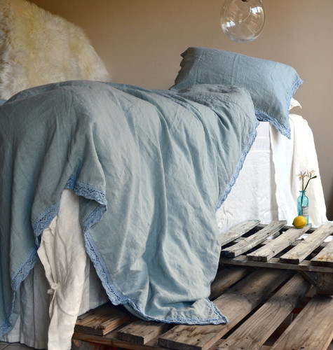 Duck Egg Blue laced linen bedding