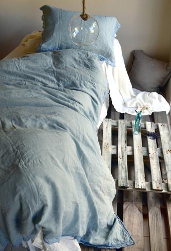 Duck Egg Blue laced linen bedding