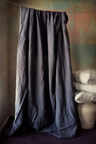 Midnight Blue stonewashed linen fitted sheet