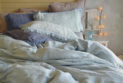 Duck Egg Blue laced linen pillow case