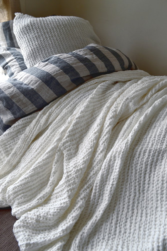 Waffle Linen Blanket, Ivory. Extra Heavy natural linen