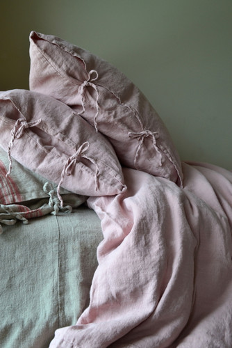Rose Quartz Rustic Heavy weight  linen pillow case with ties