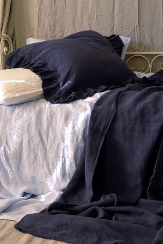 Frayed ruffle linen pillow case in Midnight blue