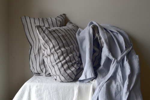 Silver Grey Stonewashed Linen Bath/Spa Robe. Limited Edition