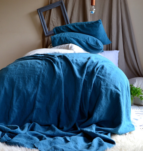 Teal Heavy Linen Bed cover/Coverlet