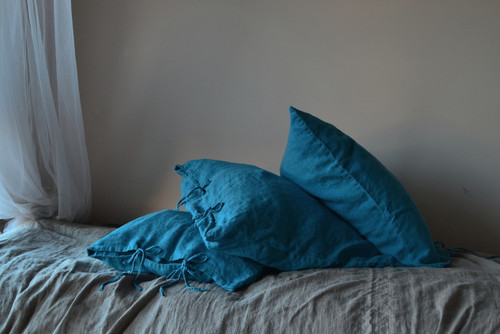 Dark Teal Rustic Heavy weight  linen pillow case with ties