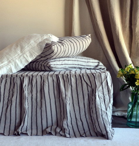 Ruffled Bed Valance⎮Vintage Black Ticking⎮Natural stonewashed linen