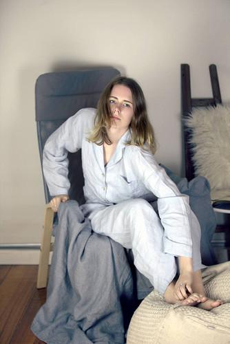 Silver Grey stonewashed linen sleepwear. Pajama Set