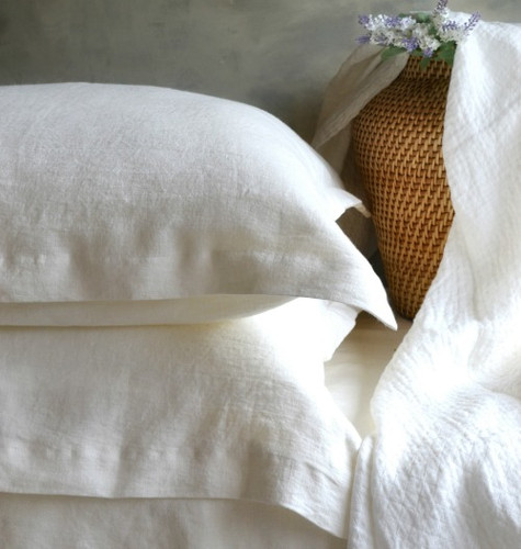 Pure Elegance softened linen pillow case, Off white