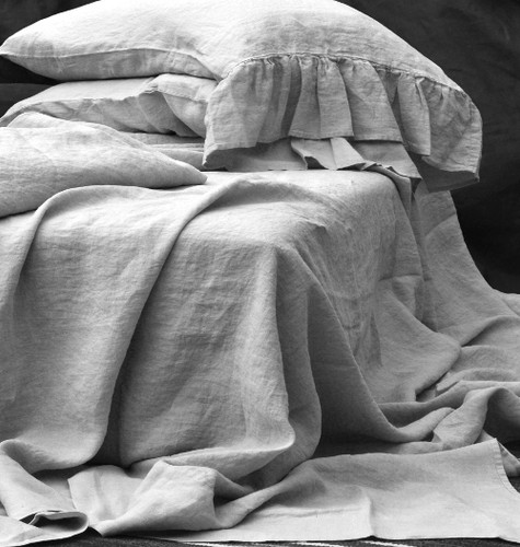 Luxurious light grey stonewashed linen fitted sheet. Queen and King sizes