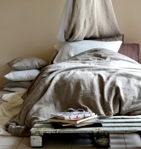 Natural Rustic Rough Heavy Weight Linen Duvet Cover / All sizes
