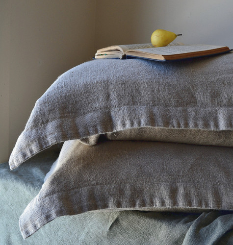 Natural Rustic Rough Stonewashed linen pillow shams set of 2