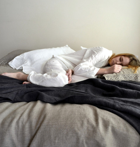 Luxurious natural stonewashed linen pajamas