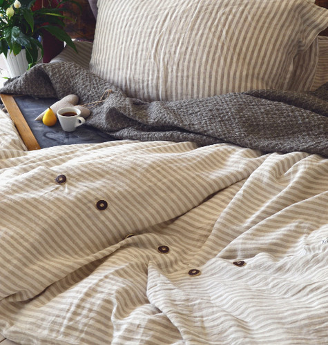 Stripes and Buttons stonewashed natural linen quilt cover. Super King size