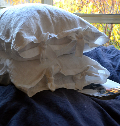White linen pillow case with ties